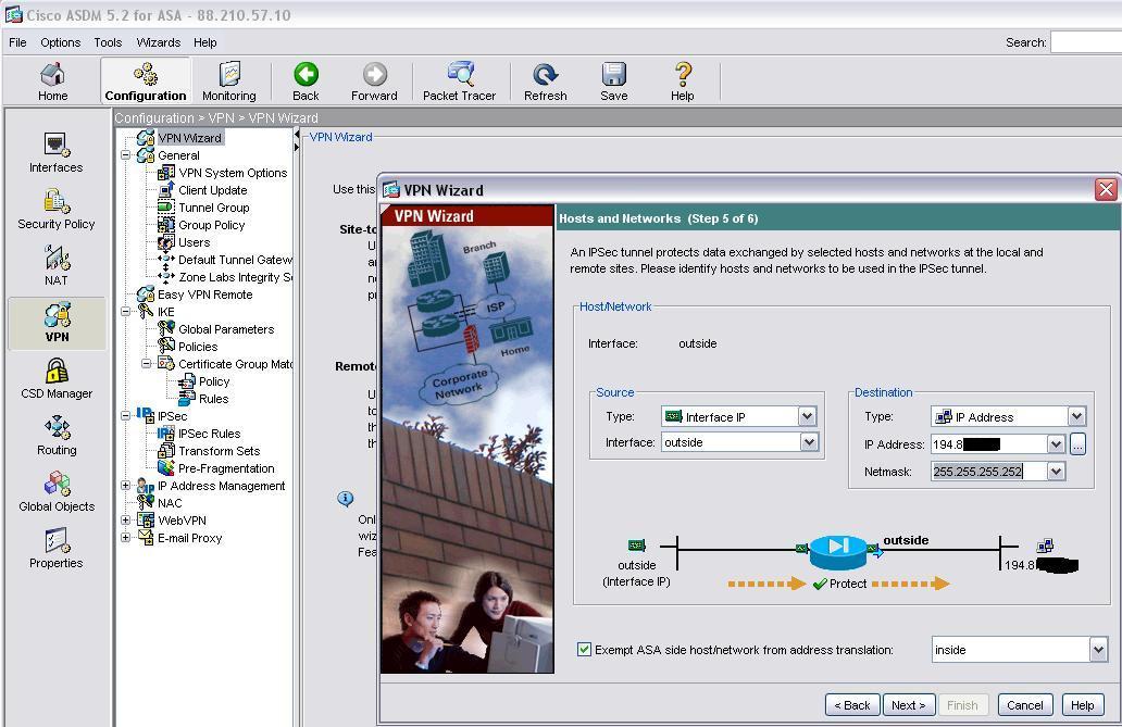 Cisco site to site vpn asdm